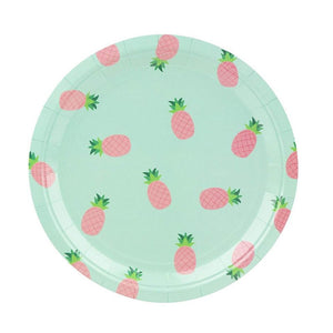 80-Count Disposable Paper Plates, Pink Pineapple Party Supplies, 9 Inches
