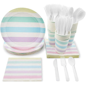Pastel Stripes Party Supplies for 24  for Birthday, Baby Shower & Girls Parties