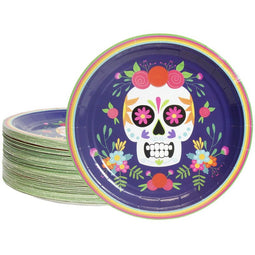 80-Count Disposable Paper Plates, Dia De Los Muertos Skull Design, 9 Inches