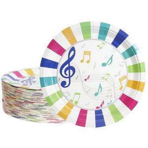 80-Pack Disposable Paper Plates, Music Party Supplies for Dinner Lunch, 9""