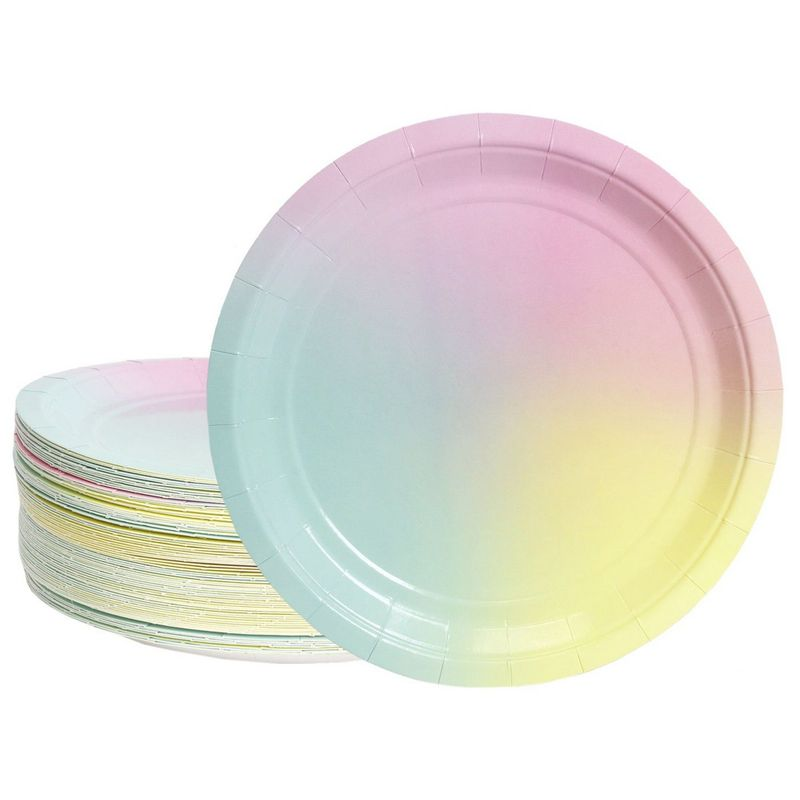 "80-Pack Disposable Paper Plates, Ombre Party Supplies for Dinner Lunch, 9"" x 9"""