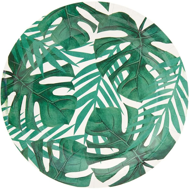 Blue Panda Disposable Plates - 80-Count Paper Plates, Tropical Party Supplies for Appetizer, Lunch, Dinner, and Dessert, Birthdays, Palm Leaves Design with White Background, 9 Inches in Diameter