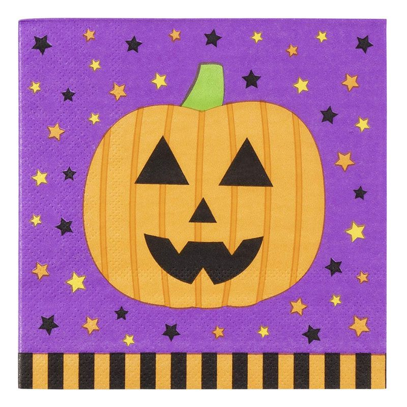 Halloween Paper Napkins, Pumpkin Design (5 x 5 Inches, 100 Pack)