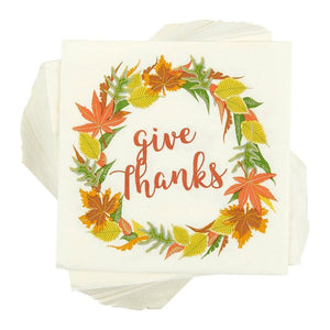 Blue Panda 100-Pack Cocktail Napkins - Thanksgiving Give Thanks Disposable Paper Party Napkins with Autumn Leaves Design, Perfect for Luncheons, Dinners, and Celebrations, 5 x 5 Inches Folded