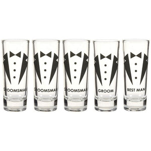 Party Favors Shot Glasses - Bachelor Shot Glasses Tuxedo Groom, Set of 5, 2 oz