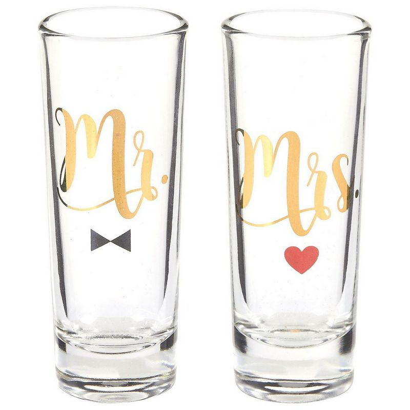 Mr Mrs Couple Shot Glasses Gold Foil Print for Wedding Party - 2 pcs, 2 oz Each