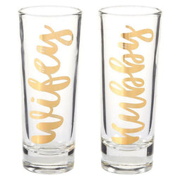 Hubby Wifey Couple Shot Glasses Gold Foil Print for Wedding - 2 pcs, 2 oz Each