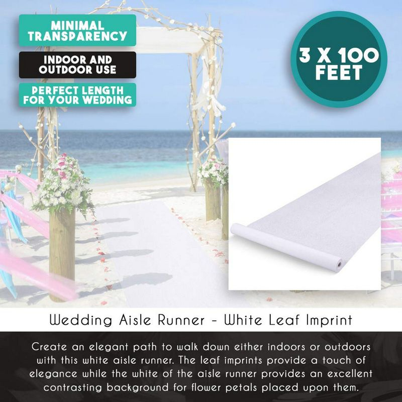 Wedding Aisle Runner Indoor Outdoor Décor Decoration, White Leaf Imprint 3x100Ft