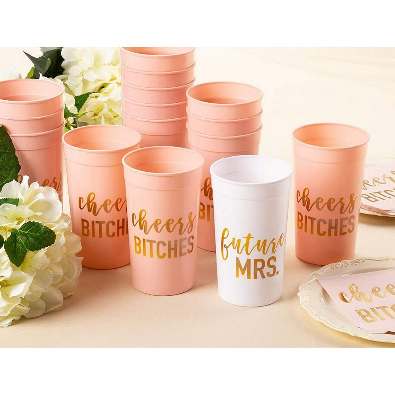 16-Pack 16oz Pink/white Reusable Tumblers Bachelorette Bridal Party Plastic Cups