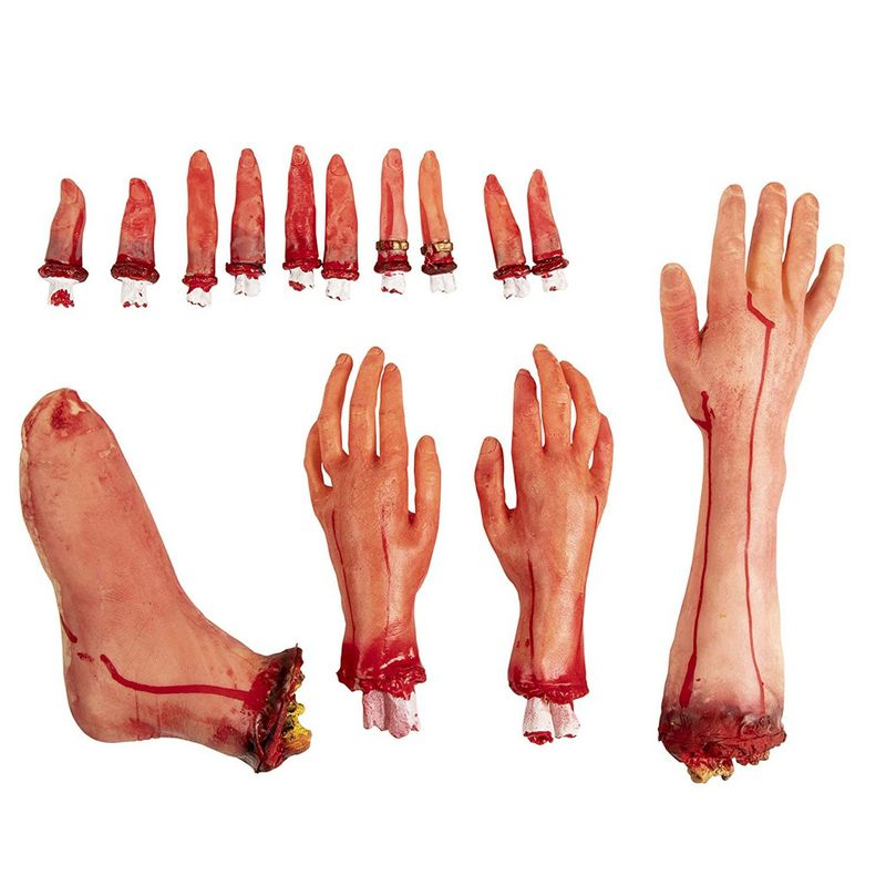 Fake Body Part – 14-Piece Bloody Human Body Parts, Artificial Broken Foot, Arm, Hands Fingers Halloween Party Props, Haunted House Decoration, April Fool Prank Toys