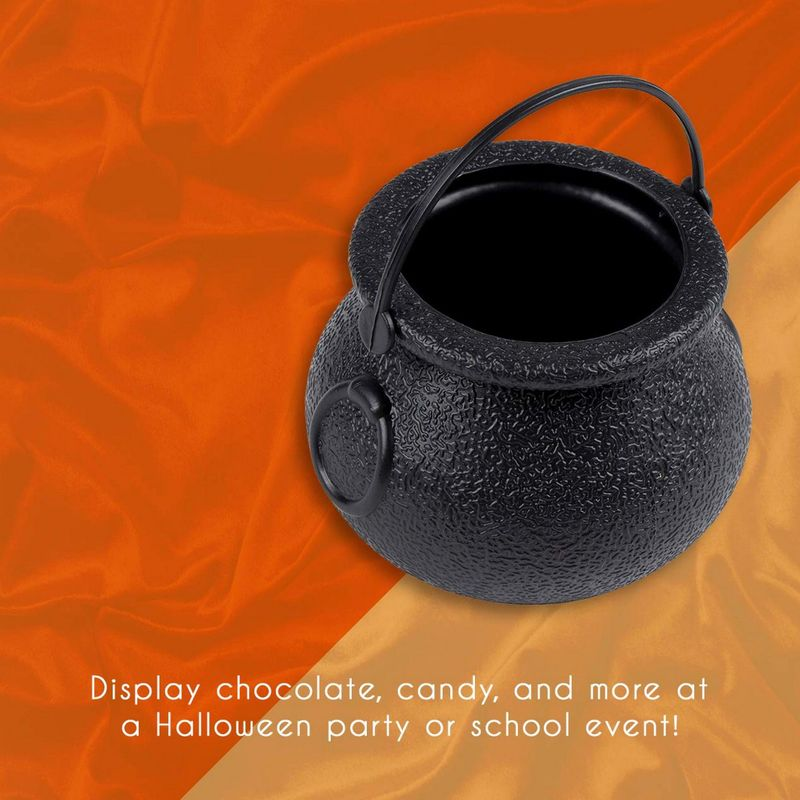 Halloween Mini Plastic Cauldrons - 24-Pack Black Witch Pots, Novelty Candy Holder Buckets, Small Kettles for Halloween Decoration, Party Supplies, 2.5 x 2.5 x 2.1 Inches