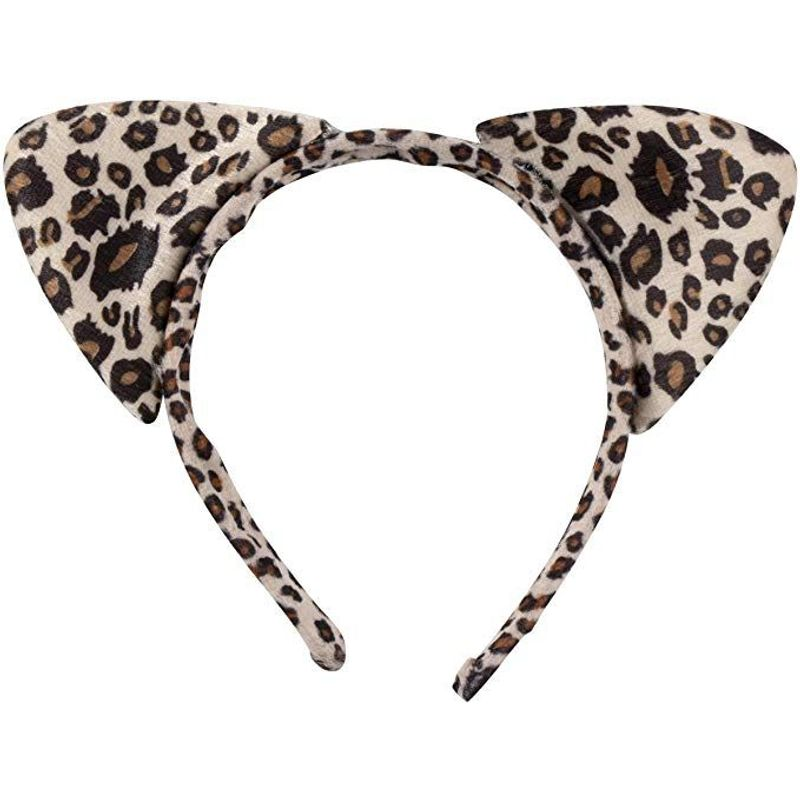 Halloween Leopard Costume - 2-Set Leopard Ears Headband Tail and Bow Tie, Animal Cosplay Kit