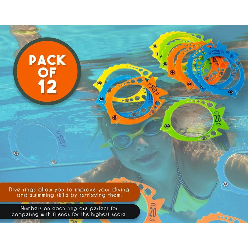 Blue Panda Dive Ring – 12 Pack Fish Shaped Diving Toys, Underwater Swimming Pool Rings for Kids, Multicolored, 7.3 x 5.7 Inches