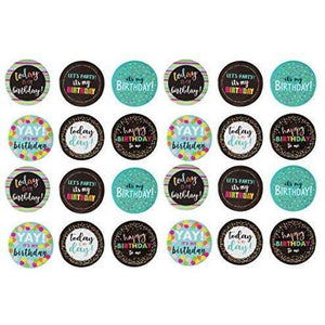 24x Party Button Pins Pinback Buttons, Birthday Party Assorted Design, 2.25""