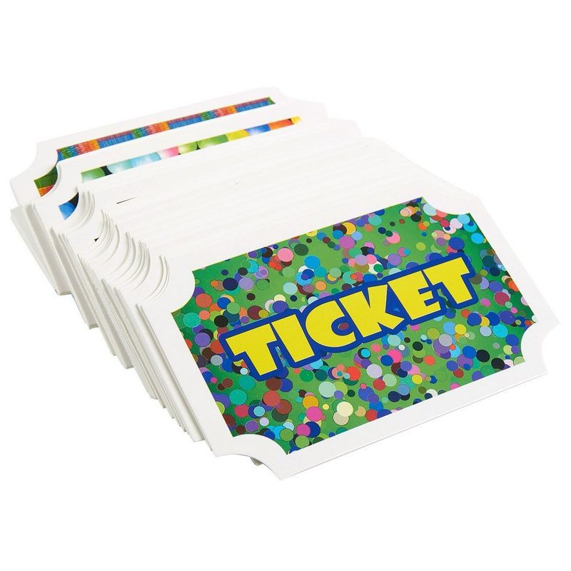 100-Pack Prize Reward Tickets for Kids, Carnival Party Supplies, 4.75x4x2 Inches