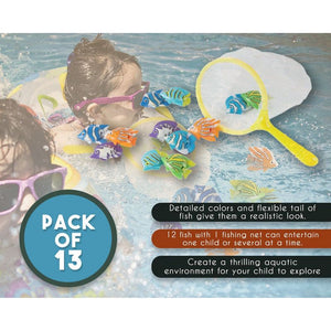 13 Pack Underwater Pool Diving Toys, Dive Catch Game, Includes 1 Net 13 Fish