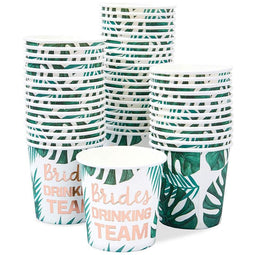 50-Pack Brides Drinking Team Paper Cup for Bachelorette Party Bridal Shower, 4oz