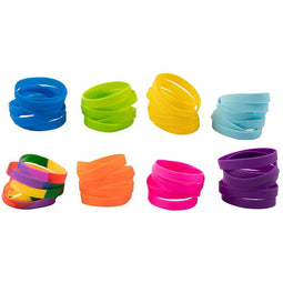 Silicone Bracelet - 48-Pack Blank Rubber Wristbands for Sports Teams, Games, Kids Play, Party Favors, 8 Colors, Circumference: 8.1 Inches, Width: 0.4 Inches