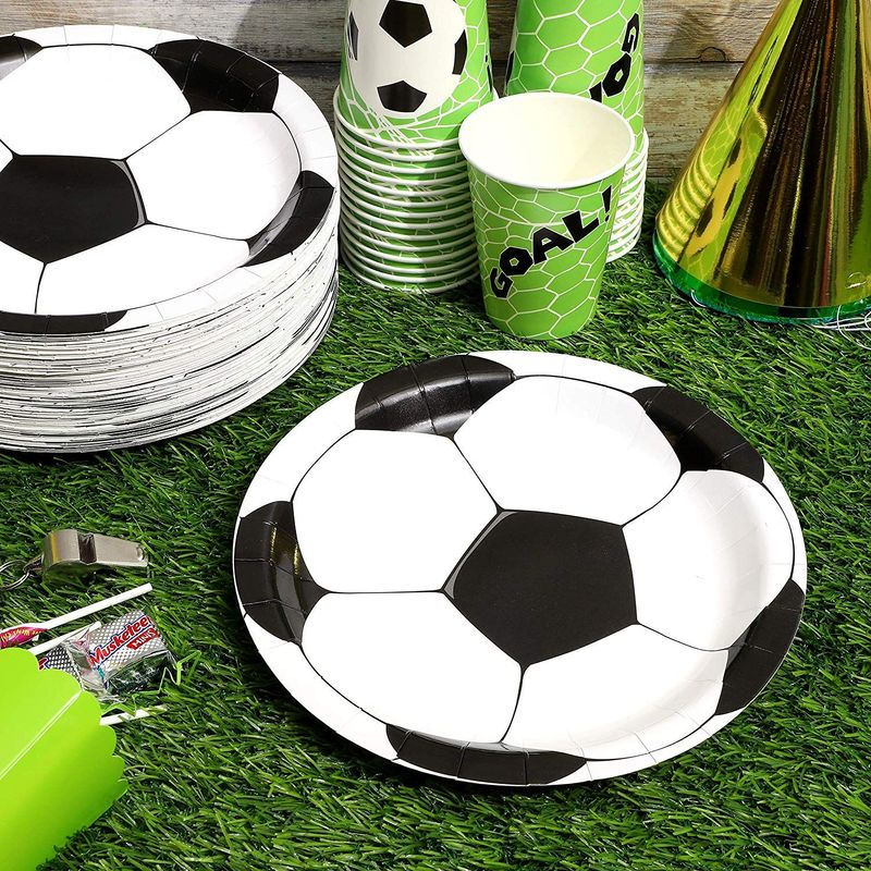80 Pack of Paper Plates for Soccer Party Supplies (Black and White, 9 Inches)