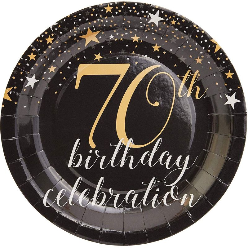 "Sparkle and Bash 70th Birthday Paper Plates (80 Count), 9"", Gold & Black"