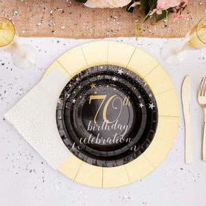 "Sparkle and Bash 70th Birthday Paper Plates (80 Count), 7"", Gold & Black"