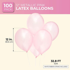 Blue Panda 12 Inch Metallic Latex Balloons for Party Decorations, Light Pink
