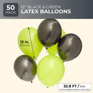 Blue Panda 50PCS 12 Inch Latex Balloons for Party Decorations, Lime Green, Black