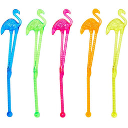 "Tropical Flamingo 6 Inch Cocktail Drink Stirrer Sticks (100 Count) - 5.8"" long"