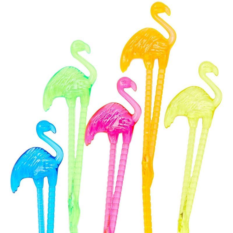 Blue Panda Tropical Flamingo 6 Inch Cocktail Drink Stirrer Sticks (100 Count)