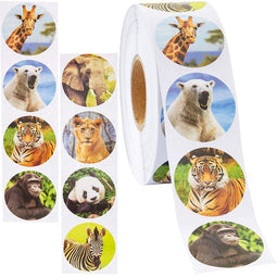 Blue Panda (1000 Count) Zoo Animal Sticker Roll for DIY Arts Crafts, 1.5 Inches