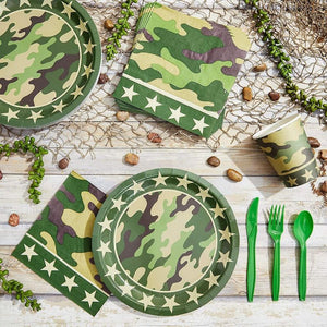 "80Pcs Camo with Camouflage & Stars Party Paper Plates 9"" for Birthday Party"