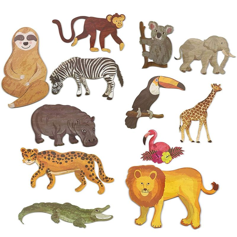 12x Jungle Animal Safari Paper Cutouts for Crafts, Home Party School Decoration