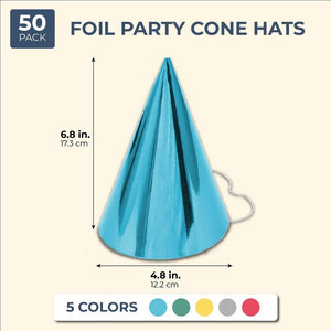 50Pcs 5 Assorted Colors Foil Design Party Cone Hats for Kid Birthday Party