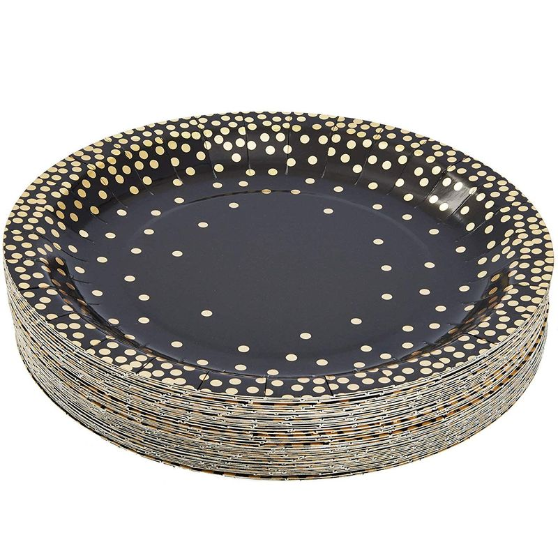 "48Pcs Gold Foil Black Party Disposable Paper Plates 9"" for Birthday Party"