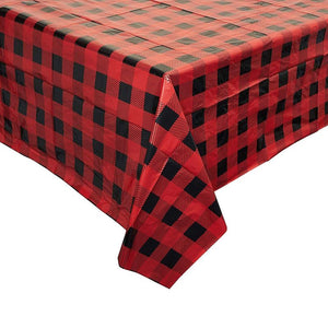 3 Pack Buffalo Check Plaid Red and Black Tablecloth Table Cover, 54 x 108""