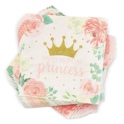 Pink Princess Paper Napkins for Kids Birthday Party (6.5 x 6.5 In, 100 Pack)