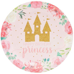 Princess Party Supplies, Floral Plates (7 in., 80 Pack)