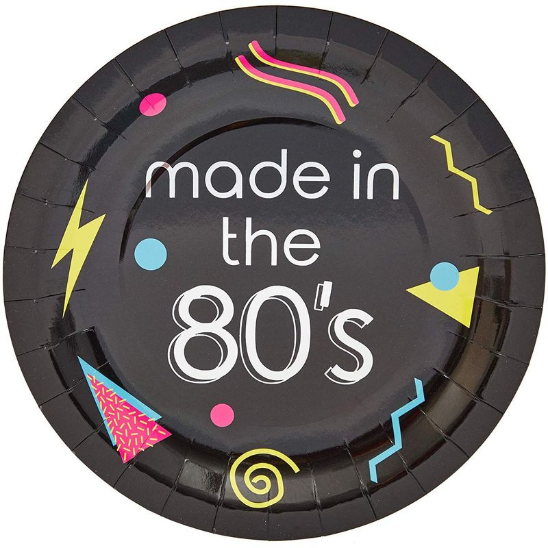 "48Pcs Made in The 80s Party Disposable Paper Plates 9"" for The 1980's Party"