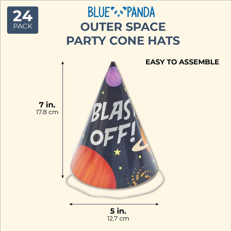 Blue Panda Blast Off Outer Space Birthday Party Hats (Pack of 24)