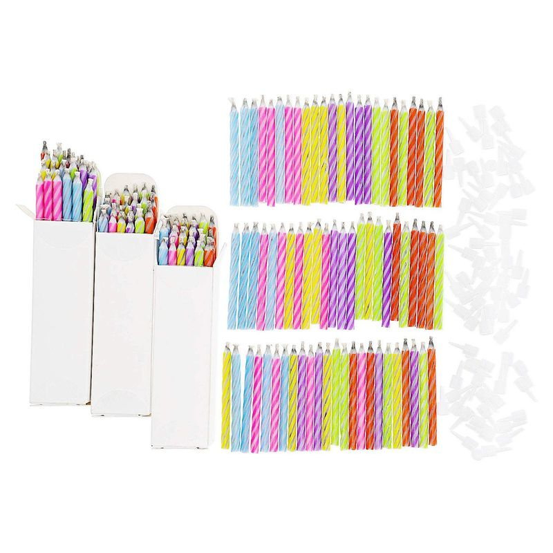 144x Magic Relighting Birthday Cake Candles in Holders Multicolor Striped Funny