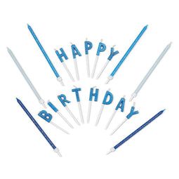 "37-Count Glitter Blue Long Thin Cake Candles with Holder ""HAPPY BIRTHDAY"" Letter"