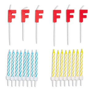96-Piece Letter F Birthday Cake Candles Set with Holders for Party Dessert Décor