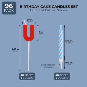 96-Piece Letter U Birthday Cake Candles Set with Holders for Party Dessert Décor