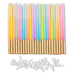 Pastel Ombre Birthday Cake Long Thin Candles with Holders (5 in, 24 Pack)