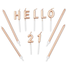 Hello 21 Cake Topper and Thin Candles in Holders (Rose Gold, 31 Pieces)