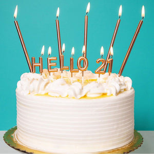 "31 Rose Gold 21th Birthday Cake Candles, ""HELLO 21"" Letter Dessert Topper"