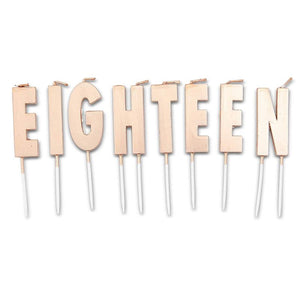 Eighteen Birthday Cake Topper Letters with Thin Candles and Holders (32 Pack)