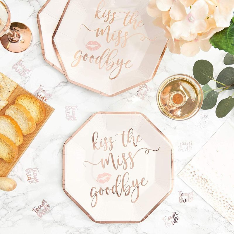 "48Pcs Kiss the Miss Goodbye Rose Gold Paper Plates 9"" for Bachelorette Party"