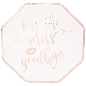 Bachelorette Party Plates - Kiss the Miss Goodbye, Rose Gold, 48 Count
