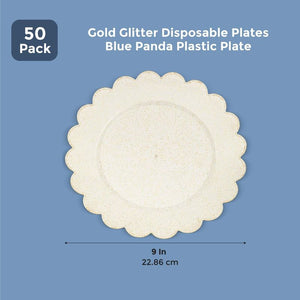 Blue Panda Plastic Plate 50 Pack - Gold Glitter Disposable Plates - 9 inches